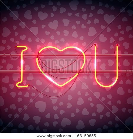 Neon sign, I Love You with heart on dark background with heart pattern. Design element for Happy Valentine's Day. Ready for your design, greeting card, banner. Vector illustration.