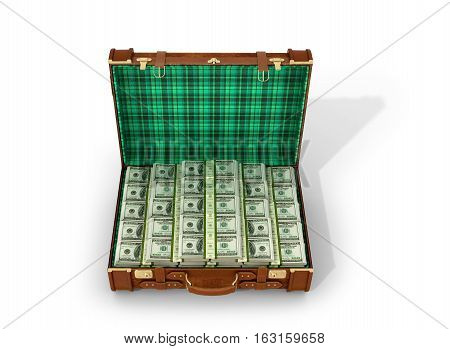 Leather suitcase with money dollars in a suitcase on a white background. 3D illustration