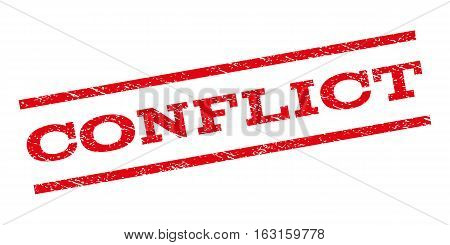 Conflict watermark stamp. Text tag between parallel lines with grunge design style. Rubber seal stamp with dust texture. Vector red color ink imprint on a white background.