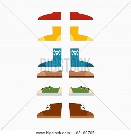 Running boots and different athletic sneaker socks illustration. Trendy fashion footwear accessories concept. Running fashion sport casual shoe flat vector.