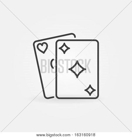 Playing cards line icon. Vector thin line poker or casino concept sign or logo element