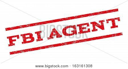 FBI Agent watermark stamp. Text tag between parallel lines with grunge design style. Rubber seal stamp with dust texture. Vector red color ink imprint on a white background.