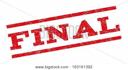 Final watermark stamp. Text tag between parallel lines with grunge design style. Rubber seal stamp with scratched texture. Vector red color ink imprint on a white background.