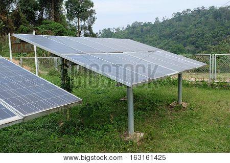 Solar cells on the grass green, solar energy.