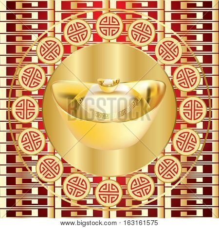 Chinese New Year golden ingot with patterned background