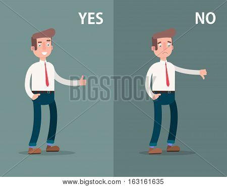 Likes and dislikes. Good and bad. Businessman showing gesture of approval and disapproval. Vector illustration