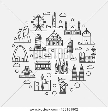 Travel round illustration. Vector thin line creative symbol made with famous landmarks and monuments icons