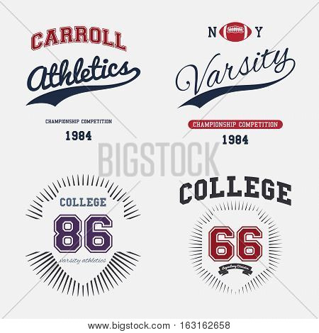 Varsity College Print Colltection T-shirt Vector Illustration
