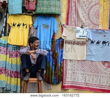 Indian Man Selling Cloth In Jaipur, India