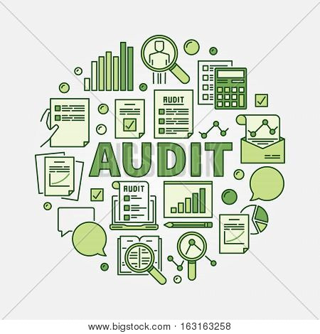 Audit round illustration. Vector business colorful sign. Financial audit green symbol