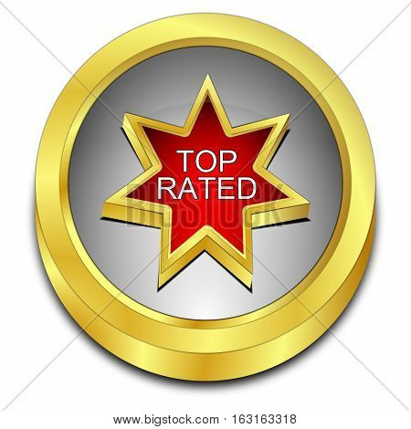 decorative Top Rated Button - 3D illustration