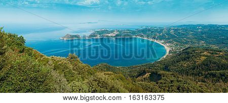 Panoramic view on Ag. Georgios Pagon Afionas Corfu island Greece