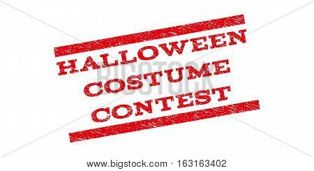 Halloween Costume Contest watermark stamp. Text tag between parallel lines with grunge design style. Rubber seal stamp with dust texture. Vector red color ink imprint on a white background.