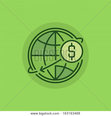 Transfer money green icon. Vector international dollar money transfer concept colorful symbol or sign