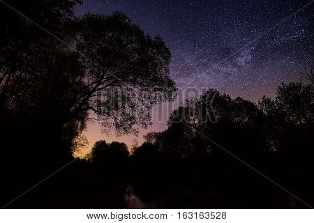 Starry Sky Above A Lake And Trees