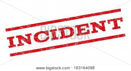 Incident watermark stamp. Text tag between parallel lines with grunge design style. Rubber seal stamp with dust texture. Vector red color ink imprint on a white background.
