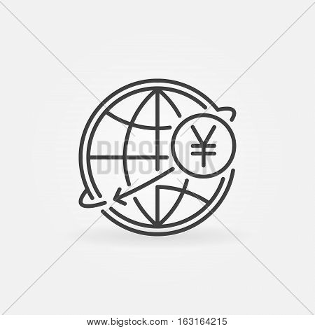 Yen international money transfer icon. JPY currency concept symbol in thin line style. Yen with globe linear sign or logo element