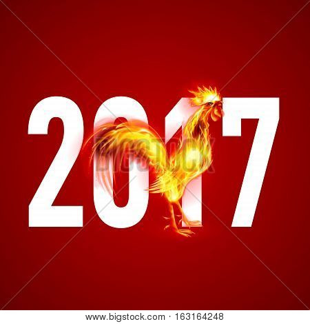 Red Cock. Fire Rooster Symbol of the New Year by Chinese Calendar. Christmas Card New Years design on Red