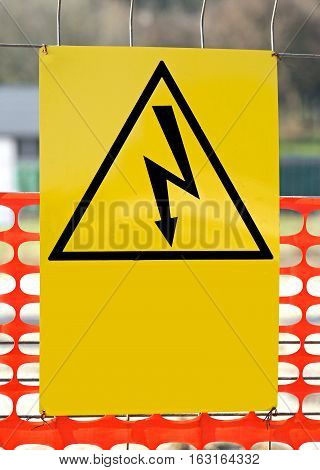 Sign With The Symbol Of A Lightning Bolt For Electrocution Dange