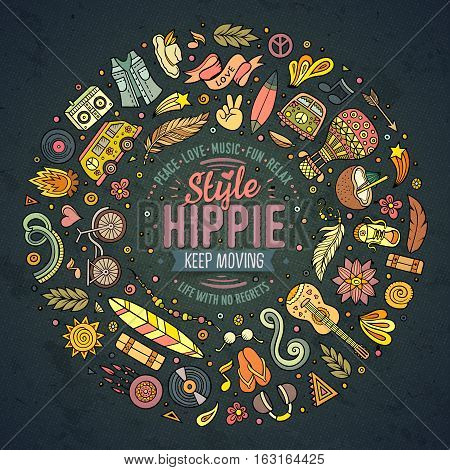 Colorful vector hand drawn set of Hippie cartoon doodle objects, symbols and items. Round frame composition