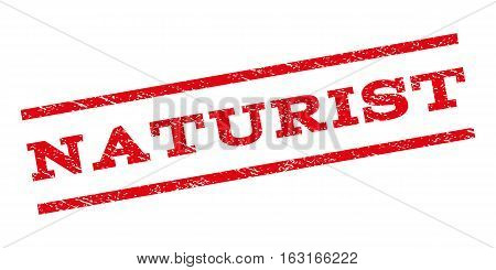 Naturist watermark stamp. Text tag between parallel lines with grunge design style. Rubber seal stamp with dirty texture. Vector red color ink imprint on a white background.