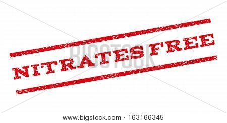 Nitrates Free watermark stamp. Text tag between parallel lines with grunge design style. Rubber seal stamp with dust texture. Vector red color ink imprint on a white background.