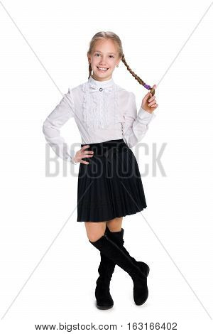 Smiling Schoolgirl With Pigtails