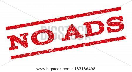 No Ads watermark stamp. Text caption between parallel lines with grunge design style. Rubber seal stamp with dust texture. Vector red color ink imprint on a white background.