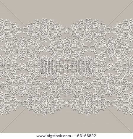 Lace ribbon Seamless Pattern with elements flowers. Can be used for packaging, invitations, and template.Vector lace ornament.