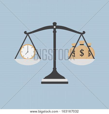 Time Is Money Illustration, Watch And Moneybag on The Scale