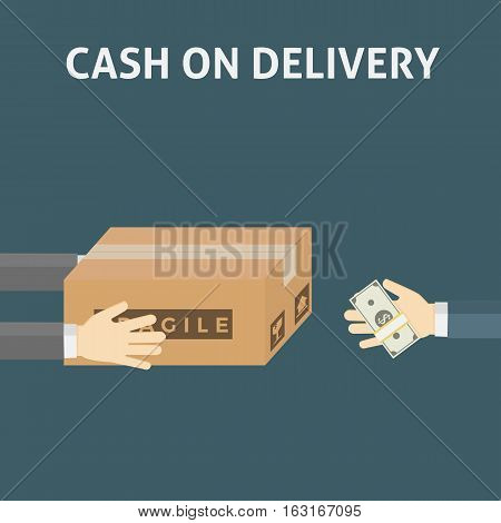 Cash On Delivery Illustration, People hand Holding Box Package and other Giving money gesture
