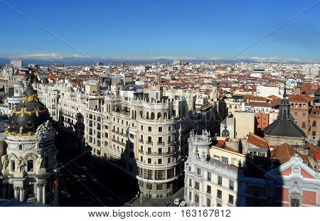 Breathtaking view from above of cityscape under vivid blue sky, Madrid, Spain