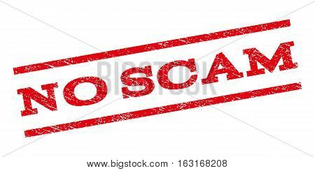 No Scam watermark stamp. Text tag between parallel lines with grunge design style. Rubber seal stamp with scratched texture. Vector red color ink imprint on a white background.