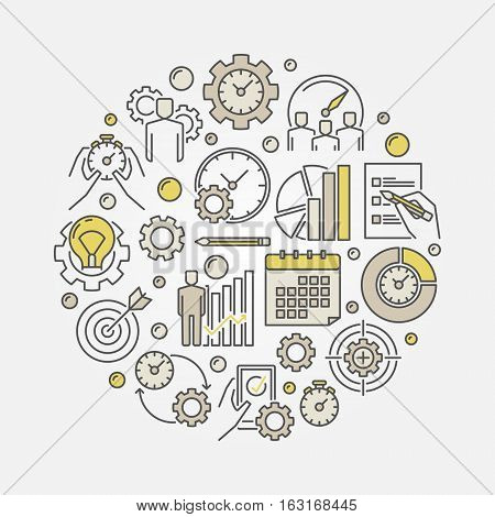 Productivity and time management illustration. Vector round colorful productivity creative symbol
