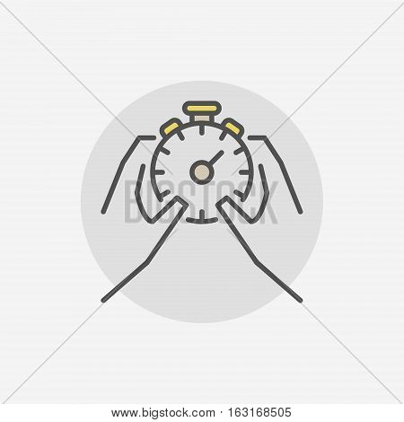 Stop stopwatch in hands icon. Vector time management symbol or logo element on gray background