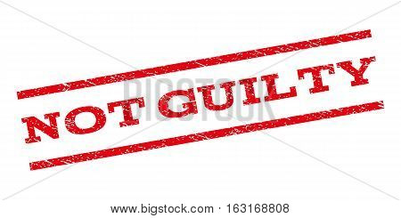 Not Guilty watermark stamp. Text caption between parallel lines with grunge design style. Rubber seal stamp with unclean texture. Vector red color ink imprint on a white background.