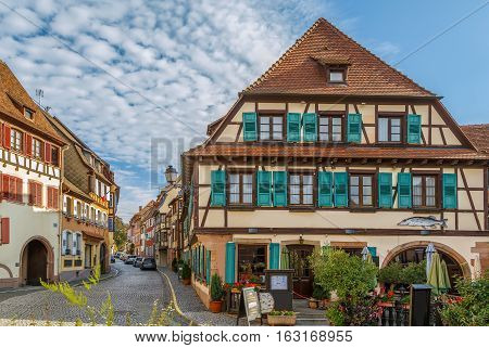 Street with historical half-timbered houses in Barr Alsace France