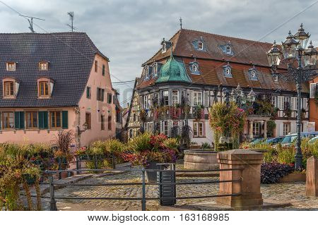 View of main square with fountain in Barr Alsace France