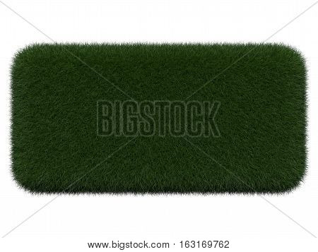Grassy board for text on white background. Isolated digital illustration. 3d rendering