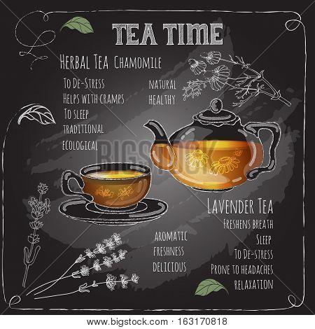 Herbal Tea Time card with cup, teapot, spoon, flowers  and  leaves.  Lavender,  chamomile.  Freehand drawing with imitation of chalk sketch. Hot beverage. White lines on dark background.