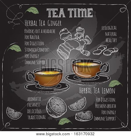 Herbal Tea Time card with cup, teapot, spoon  and  leaves.  Lemon,  ginger.  Freehand drawing with imitation of chalk sketch. Hot beverage. White lines on dark background.