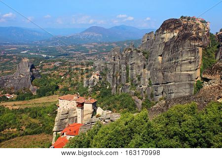 Famous Meteora Monasteries in Greece. Meteora is included on the UNESCO World Heritage List