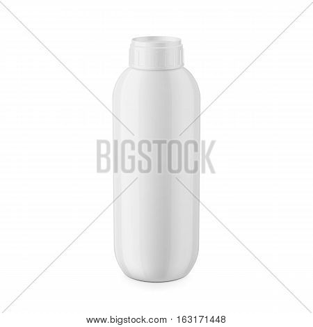 Round white glossy plastic bottle with cap for shampoo, balm, shower gel, lotion, body milk, bath foam. 1 liter. Realistic packaging mockup template. Eye-level view. Vector illustration.