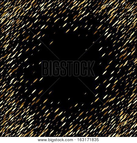 Glitter golden sharp oval sequins magical frame background. Good for luxury poster banner advertising design. Vector illustration.