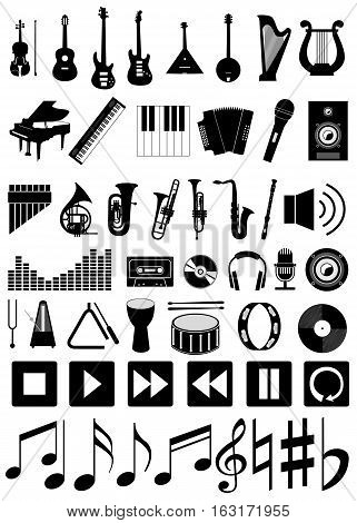 Musical instruments and accessories. Set vector icons.
