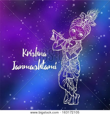 Ornament card with Lord Shri Krishna birthday. Illustration in vector art. Happy Janmashtami Day Hindu. Vedic Feast India. Use for banners, card, wallpaper, print.