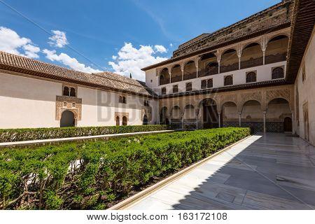 Granada Spain - May 19 2014: Court of the Myrtles in La Alhambra Granada Spain.