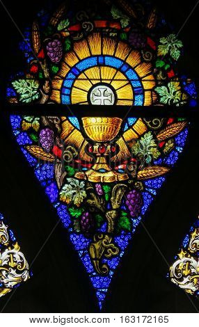 Stained Glass - Eucharist And Holy Grail