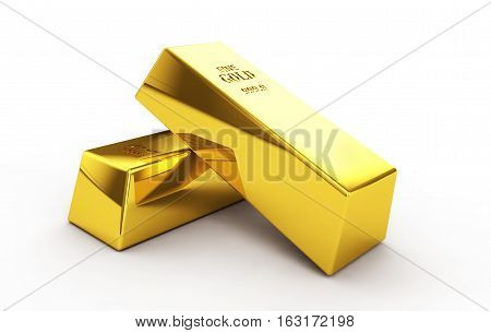 Set of gold bars isolated on white background 3d render