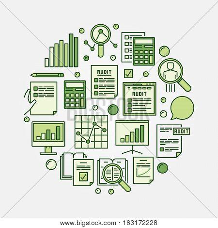 Financial audit circular illustration. Vector colorful auditing round creative symbol